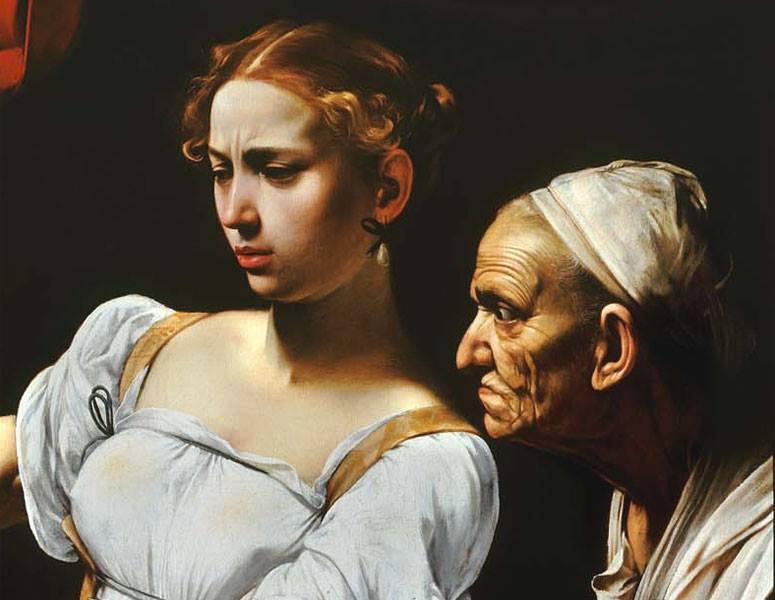 Caravaggio, Giuditta e Oloferne, 1597, particolare