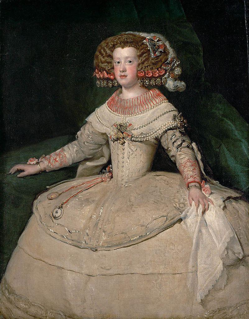 Infanta Maria Teresa d'Austria, sorella di Carlos II sposerà Louis XIV Re di Francia. Ritratto di Juan Var der Hamen, Kunsthistorisches Museum, Vienna
