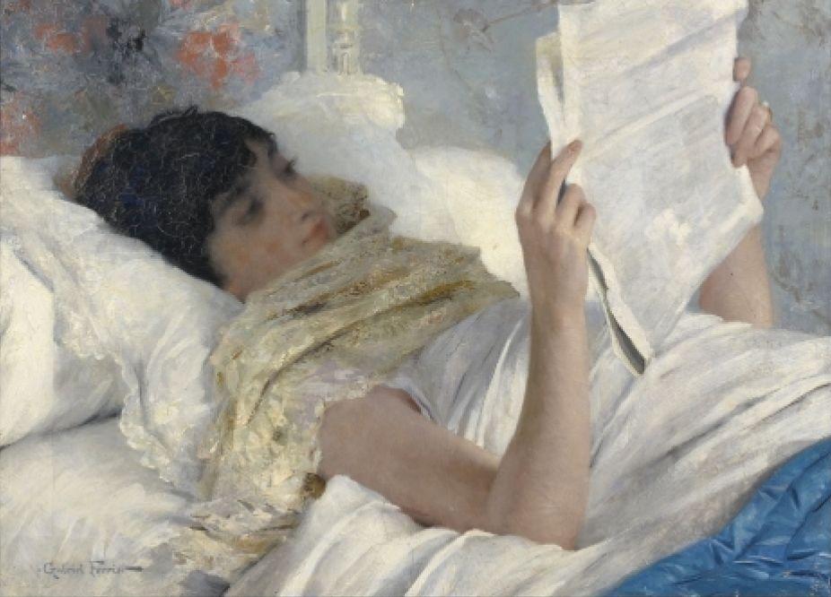 gabriel-ferrier-woman-reading-in-bed